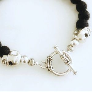 District Gems Accessories - Handcrafted Men's Skull Lava Rock Toggle Bracelet